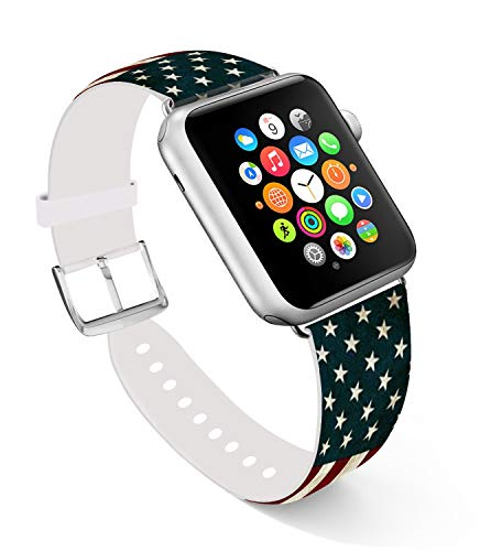 For Apple Watch Band 38mm,Ecute Replacement Band Leather Iwatch Strap With Silver Metal Clasp for Iwatch 38mm Series 3/Series 2/Series 1/Edition/Sport - The National Flag