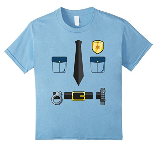 Pig Cop Costume (Kids Halloween Police Badge, Tie, Handcuffs, & Belt T-Shirt 6 Baby Blue)