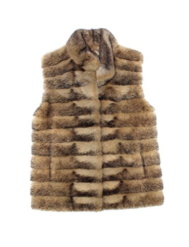 710802 New Beige Black Cross Circular Mink Fur Vest Jacket Coat Stroller 10