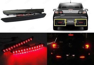 LEDIN Mazda3 Axela 04-09 Black Smoked Lens Bumper Reflector LED Tail Brake Stop Light