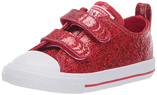 Converse Girls' Chuck Taylor All Star 2V Glitter Low Top Sneaker, Cherry red White, 8 M US Toddler -