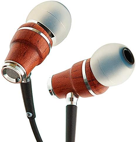 Symphonized NRG X Bubinga Premium Genuine Wood Earbuds, in-Ear Noise-Isolating Headphones, Earphones with Angle-Fit Ear Tips, in-line Microphone and Volume Control, Stereo Earphones Black