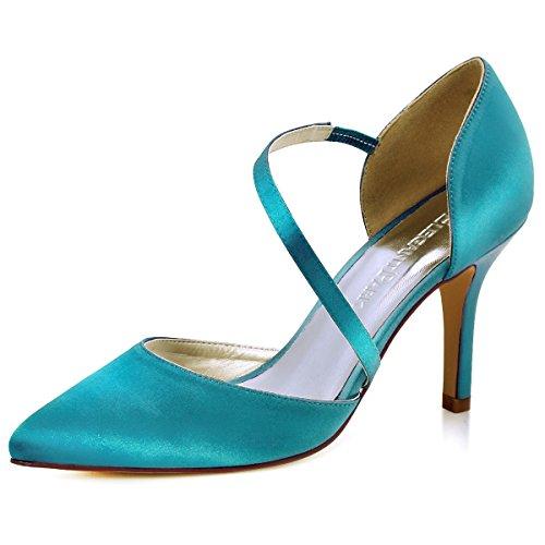 Elegantpark HC1711 Women Pointed Toe Stiletto High Heels Court Shoes Straps Wedding Prom Party Bridal Shoes Teal vb02IoL