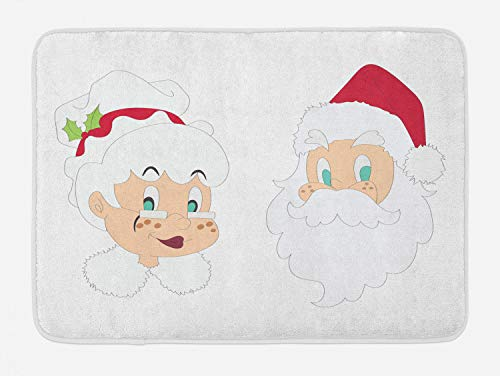 Ambesonne Mr Mrs Bath Mat, Mr and Mrs Santa Clause North Pole Inhabitants Christmas Themed Cartoon Characters, Plush Bathroom Decor Mat with Non Slip Backing, 29.5 W X 17.5 L Inches, Red Cream ()