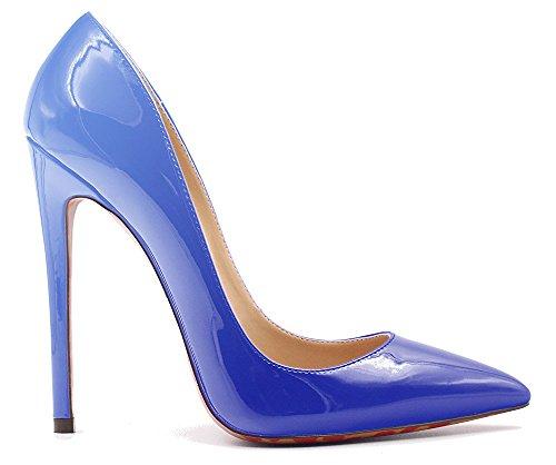Huomautti Pumput Patenttia Korkokengät Värikäs Sininen Varvas Suurikokoisia Työkengät 12cm Luistaa Naisten Tikari Ybeauty Prom fEwBII