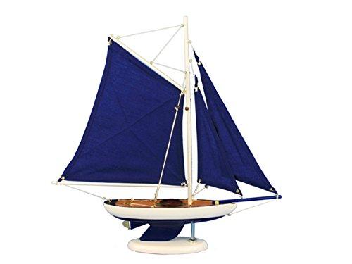 (Hampton Nautical  Wooden Bermuda Sloop Dark Blue Model Sailboat Decoration 17