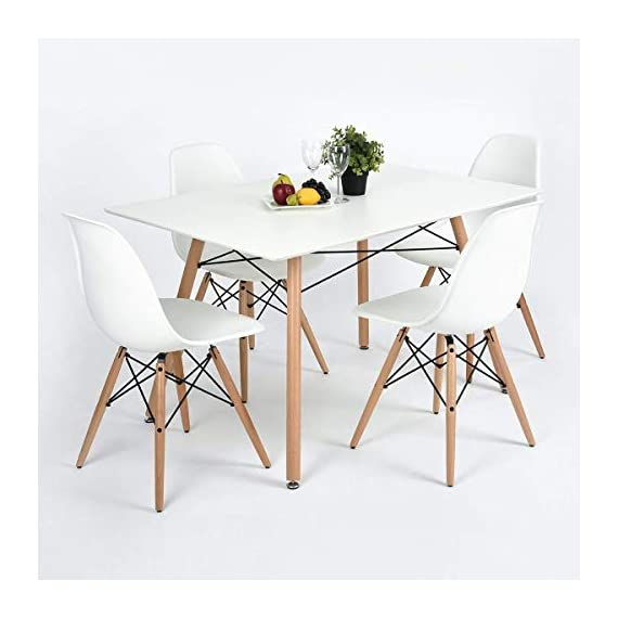 """GreenForest Dining Table Wood Top and Legs Modern Leisure Coffee Table Home and Kitchen (44""""x28 x28, White) - DECENT CONSTRCTION & MODERN STYLE: Dining table with rectangular MDF top and the iconic base of four legs gives the table a bright and modern appearance. It's practical and stylish. RIGHT SIZE & EASY TO CLEAN: Right size of the rectangular dining table for small intimate spaces,like kitchen; lounge or balcony,sturdy and pretty.Easy to clean as well. SPACIOUS & COMFORTABLE: Dining table with the dimension of the rectangular top: 44inch x 28inch (L x W) and the height: 28inch. - kitchen-dining-room-furniture, kitchen-dining-room, kitchen-dining-room-tables - 41HGw117ITL. SS570  -"""