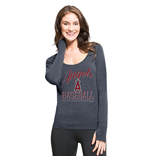 '47 MLB Los Angeles Angels Women's Dash Long Sleeve Tee, Medium, Shift Navy
