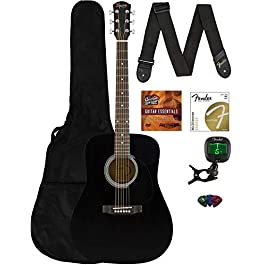 Fender CD-60S Solid Top Dreadnought Acoustic Guitar – Black Bundle with Gig Bag, Tuner, Strap, Strings, Picks, Austin…