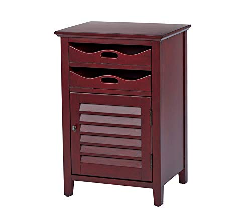 Оsp Dеsigns Charlotte Chair Side Table with 2 Storage Trays and Lower Storage Space, Vintage Wine Finish