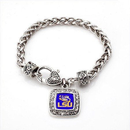LSU Tigers Classic Silver Plated Square Crystal Charm (Lsu Tigers Square)
