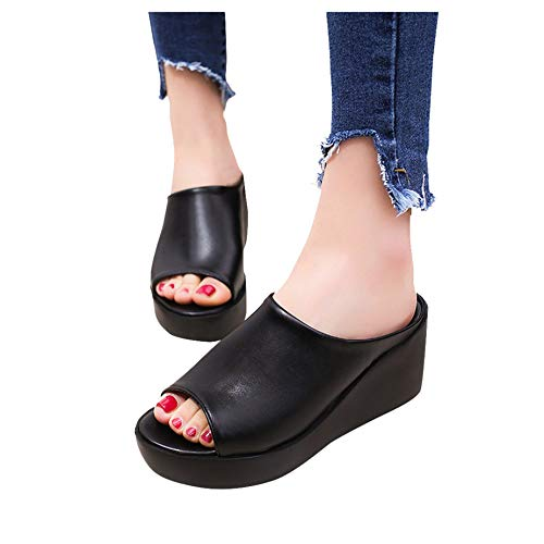 Women Summer Wedges Platform Shoes Fashion Leisure Fish Mouth Sandals Thick Bottom Outdoor Slippers (US 8 .5, Black)