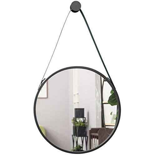 Anink Montado en la Pared Espejo Redondo, Metal Espejo de bano, Espejo de bano, Oro y Negro Espejo de bano, 60 CM (Color Black)