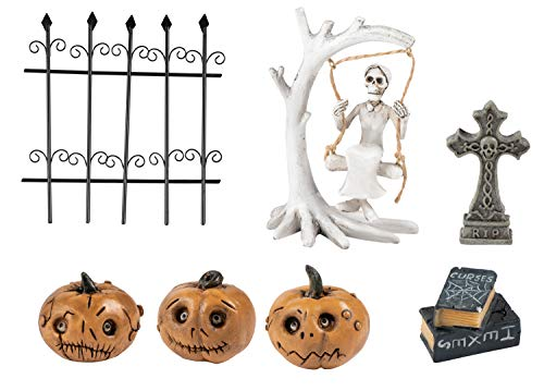 Juvale Halloween Fairy Garden Kit – 7-Piece Halloween Miniature Resin Figurines, Garden Ornaments, Party Favors, Graveyard Theme, Including Pumpkins, Skulls, Tombstone Outdoor, Lawn Home Decoration
