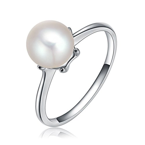White Pearl Rings 8mm for Girls Birthday Gifts Party Accessories White Gold Wrap Band Size 8 - White Flower Pearl Ring