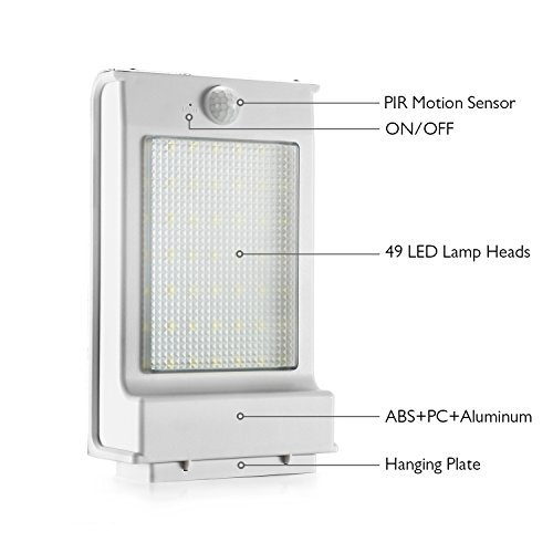 Cinoton Outdoor Solar Wall Lights Ultra Bright 49 Led