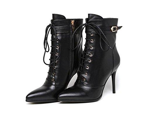 39 Apuntado Talón Otoño Mujeres Cuero EUR 6 5 Tobillo 6 BLACK UK Stiletto Invierno EUR38UK55 Fiesta Martin Negro NVXIE Botas XIOxfqwIg4