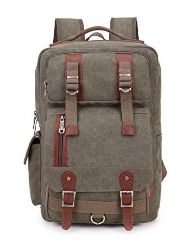 - Crest Design Canvas Hiking Travel Daypacks School 16 inch Laptop Backpack Rucksack 30L (Army Green)