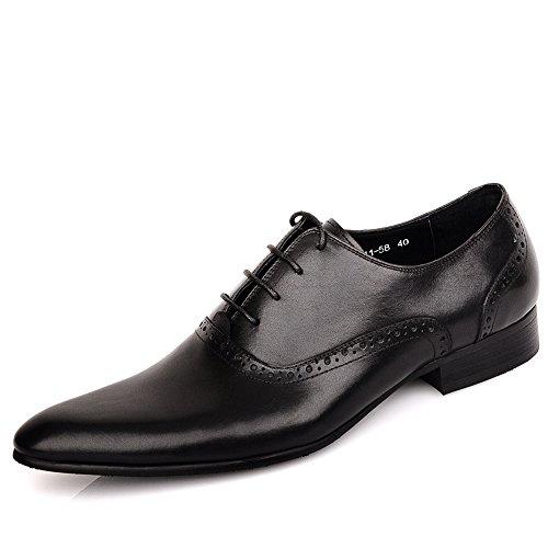 Fulinken Hombres Leather Classic Oxford Zapatos De Cordones Zapatos De Vestir Formales Negro