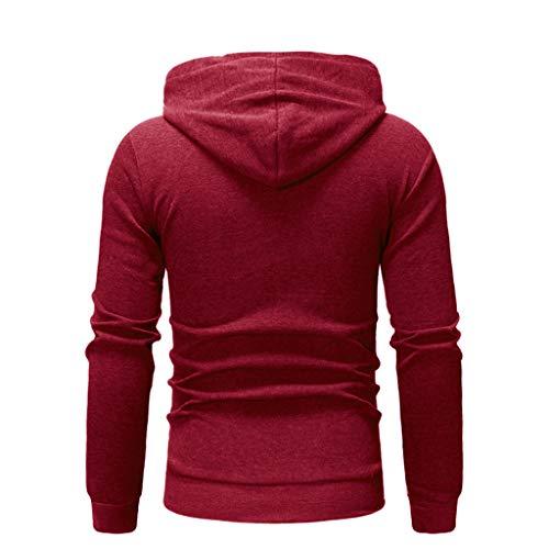 Kobay Maniche Inverno Cappuccio Autunno Maglietta Con Tute A Casual Felpa Rosso Lunghe Camicetta Superiore m8nvNO0w