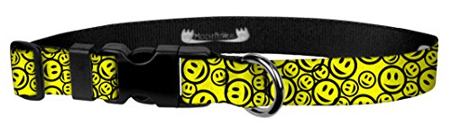 Moose Pet Wear Dog Collar - Patterned Adjustable Pet Collars, Made in the USA - 3/4 Inch Wide, Medium, Happy Face