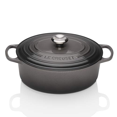 Le Creuset Signature Enameled Cast-Iron 5-Quart Oval French (Dutch) Oven, Oyster (Le Creuset Oval Dutch Oven 3-5 Qt)