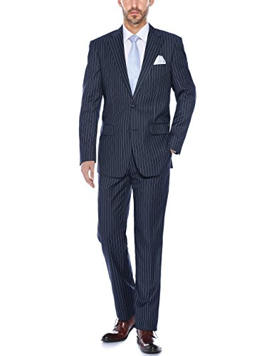 Verno Men's Striped Suits Two Button Pinstripe Classic Fit Black& Grey &Navy Business Suit (Navy, 42Regular/36 Waist) (Flap Suit Striped Pocket)