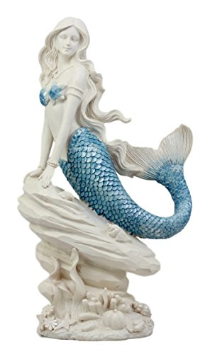 Ebros Gift Aqua Blue Tailed Mermaid Sitting On Sea Rock Figurine 11.5
