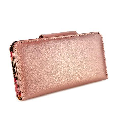 Alston Craig Magnetic London Damen Vintage echt Leder Brieftaschen Case Hülle Tasche für Apple iPhone 7 Plus (gratis Bildschirmschutz) - Schwarz (Secret Garden)