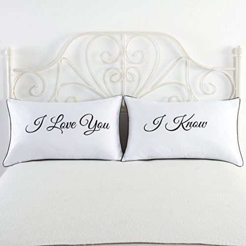 Falling in Love Couples Pillowcases Wedding, Anniversary,V-day,Christmas, Romantic Gift Idea for Him or Her ,Cute lovers of pillowcase Set:I Love You,I Know (Vday For Him)