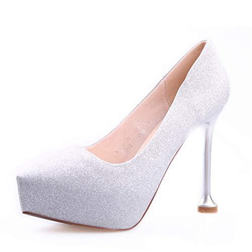 HOESCZS 12CM Super Super Super High Heel Wasserdichte Plattform flachen Mund einzelne Schuhe Spitzen fein mit Strass Silber Gold Hochzeit Schuhe Damenschuhe 1d4dfa