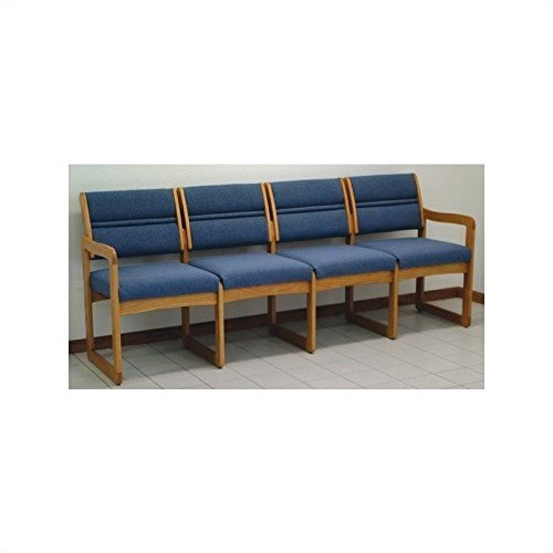 Sled Base Quad Sofa in Medium Finish Solid Oak Frame (Powder Blue)