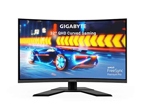 "GIGABYTE G32QC 32"" 165Hz 1440P Curved Gaming Monitor, 2560 x 1440 VA 1500R Display, 1ms (MPRT) Response Time, 94% DCI-P3, VESA Display HDR400, FreeSync Premium Pro (Renewed)"