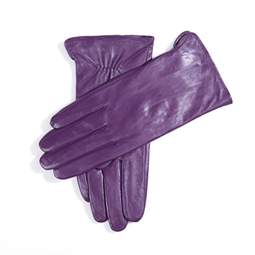 Kursheuel 14 colors Cashmere Women Lady's Genuine lambskin soft leather driving Gloves KU141 (L, Purple) by Kursheuel (Image #1)