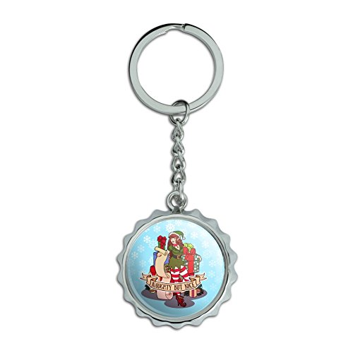 Naughty But Nice Chrome Plated Metal Pop Cap Bottle Opener Keychain Key Ring ()