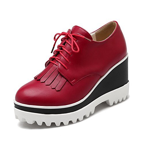 runde Pumps Schuhe Quasten Damen High mit rot Solid geschlossene Heels PU VogueZone009 Spitze q6wRFOXn