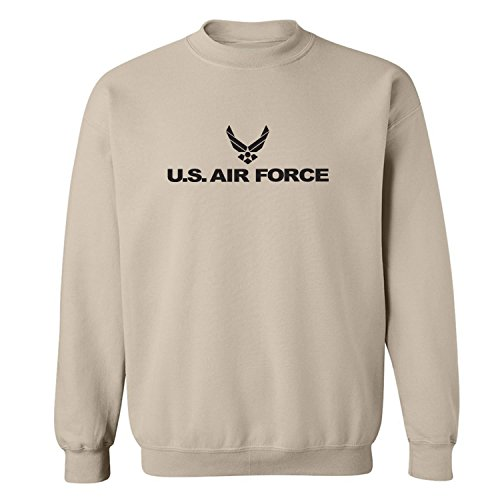 Air Force - Military Style Physical Training Crewneck Sweatshirt in Sand - Large Air Wing Crew Sweatshirt