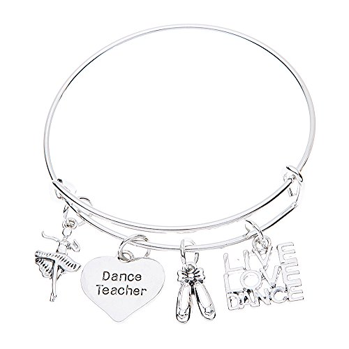 Silver Ballet Slippers Jewelry - Dance Teacher Gift, Dance Teacher Bracelet- Dance Jewelry - Perfect Gift For Dance Instructors