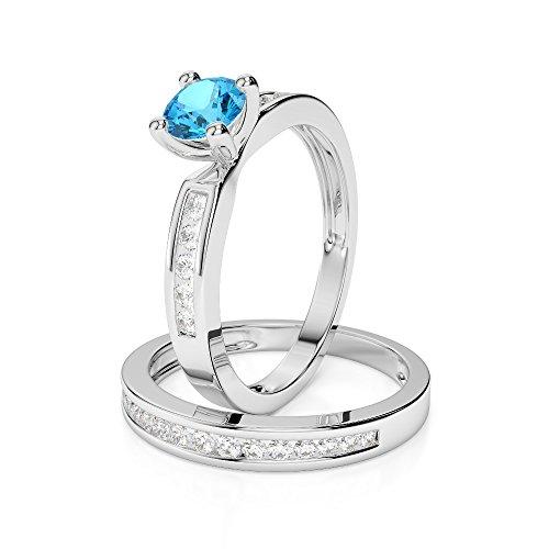 Or blanc 18carats 1/2ct G-H/VS sertie de diamants Coupe ronde Topaze bleue et de mariage Bague de fiançailles et ensemble de Agdr-1157