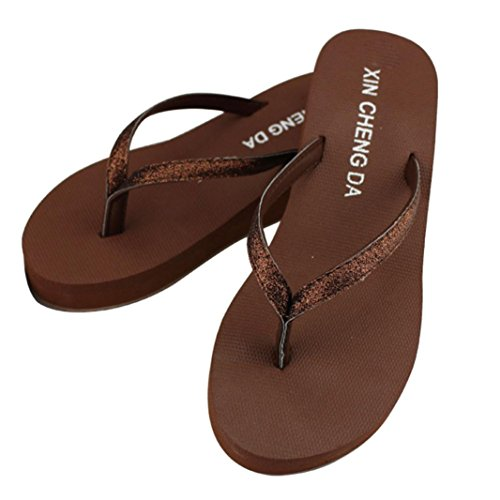 Hunpta Frauen Sommer Bling Strap Flip Flops Hausschuhe Schuhe Plattformen Strandsandalen Braun