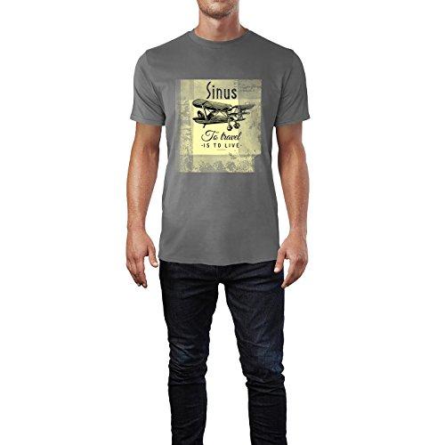 SINUS ART® Flieger – To Travel Is To Live Herren T-Shirts in Grau Charocoal Fun Shirt mit tollen Aufdruck