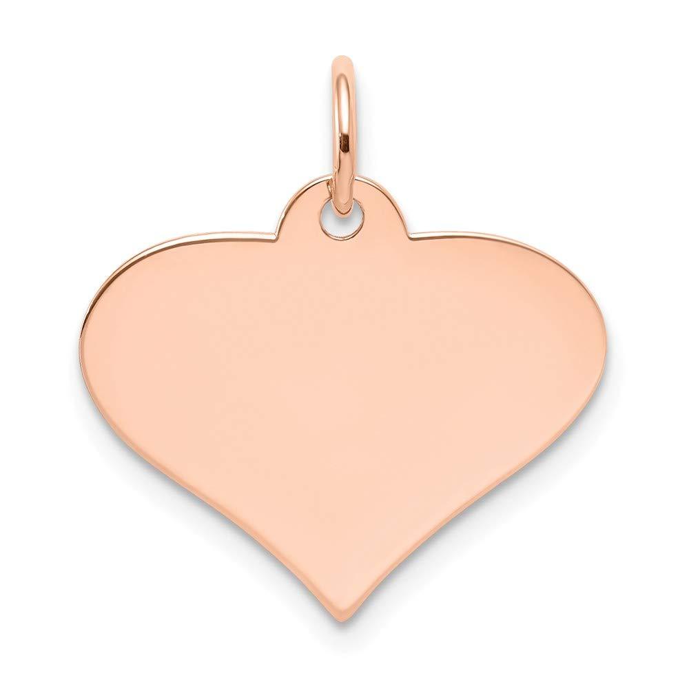 14k Rose Gold Plain .013 Gauge Engraveable Heart Disc Charm