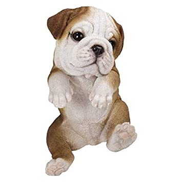 Pacific Giftware PT Realistic Look Hanging Statue Pot PAL Bulldog Puppy Dog Home Decorative Resin Figurine