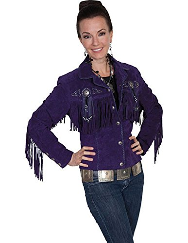 Scully Boar Suede Fringe and Beaded Jacket - Eggplant