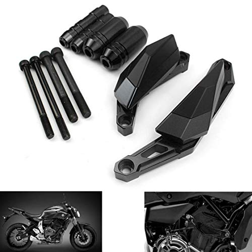 MZS Frame Guard Sliders Crash Pad Protector compatible Yamaha FZ07 FZ-07 MT07 MT-07 RM07J 2014 2015 2016 2017 2018 (Black)