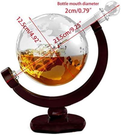 850 ml Decantador de whisky antiguo barco dispensador de whisky para licor bourbon vodka vino jarra globo con soporte de madera botella de vidrio