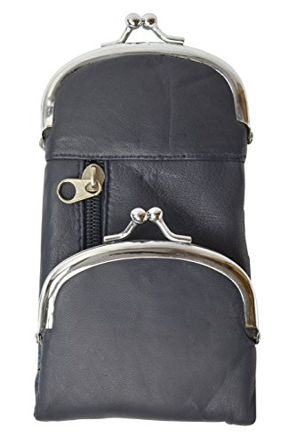 - Genuine Leather Cigarette and Lighter Case with Twist Clasp by Marshal (Navy Blue)
