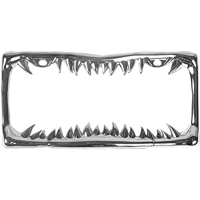 Custom Accessories 92717 Chrome Jaws Metal License Plate Frame: Automotive