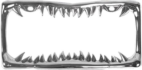 Custom Accessories 92717 Chrome Jaws Metal License Plate Frame -