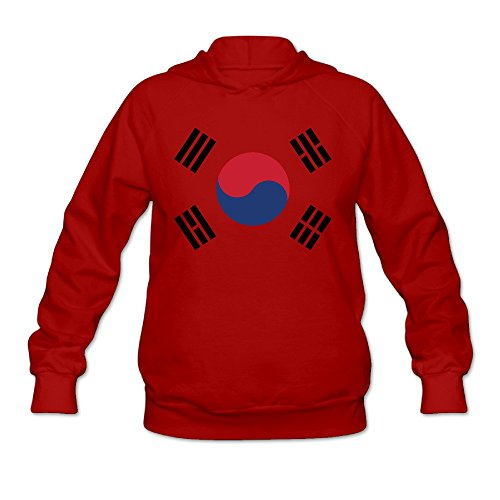 Women's South Korea Flag Lightweight Hoodie Red - Hooded Nylon Coaches